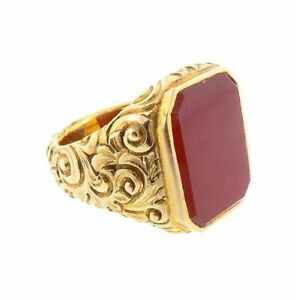 1968 Antique Vintage Men Signet Ring in 18K Yellow Gold Over with Red Ruby Stone