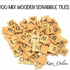 100 Wooden Scrabble Tiles Letters Numbers Alphabet Board Game Toy Gift Crafts