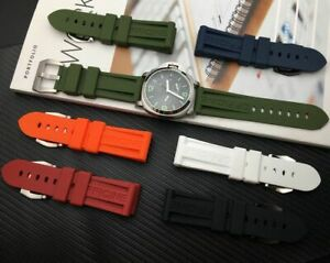 24 Silicone Rubber Watch Band Strap FOR Panerai Luminor PAM Watchband LOGO!