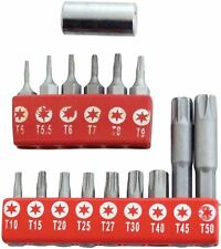Amtech 16pc TORX BIT SET Star Hex Socket Drive Screw Torque Tamper Proof Tool