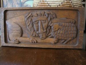 """Vintage Mid-Century Evelyn Ackerman Carved Wood Panel """"Peace"""" Lion and Lamb"""