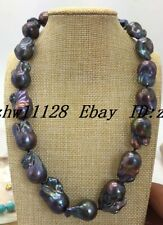 NATURAL HUGE 15-20MM SOUTH SEA GENUINE BLACK BAROQUE PEARL NECKLACE 18 '' AA+