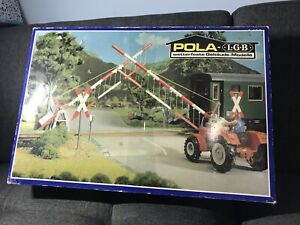 Rare W Germany G Scale POLA LGB #940 Operating Level Crossing Gate Barriers Set