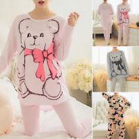 Women's Long Sleeve Sleepwear Pajamas Sets Character Printing Home Nightwear New