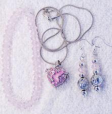 crystal Heart photo locket silver tone jewelry set bracelet earrings pink glass