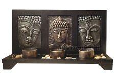 MEDITATION BUDDHA WALL PANEL STAND 3 TEALIGHT CANDLE HOLDERS HOME DECOR ART SET