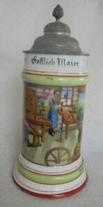 Humpen Bierkrug Zunftkrug Wagner um 1900 Porzellan Handwerker Sammelkrüge