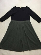 Lands End Canvas L Large Navy Blue Gray Colorblock Merino Wool Sweater Dress