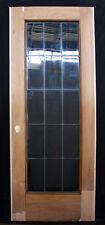 "RESTORED 30.5""x79"" Antique Interior Wooden French Door Leaded Glass Window Lite"