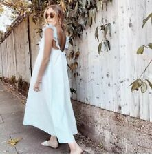 H&M con volados y recortado Maxi Vestido Blanco BNWT Tamaño XL Reino Unido bloggers agotado Raro