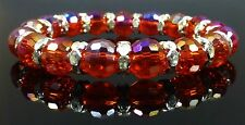 Beautiful Sparkly Red Crystal Beads & Silver Crystal Rings Bracelet
