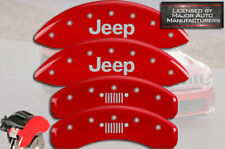 """2011-2020 """"Jeep"""" Grand Cherokee Front + Rear Red MGP Brake Caliper Covers Grill"""