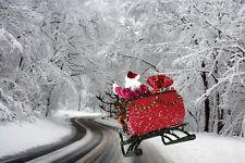 CHRISTMAS SANTA SCENE DECORATION CANVAS PICTURE PRINT WALL ART UNFRAMED #C109