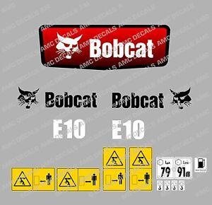BOBCAT E10 MINI DIGGER DECAL STICKER SET