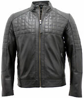 Men's Casual Quilted Black Leather Biker Jacket