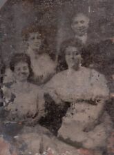 Rusty Tintype Photo of a Man and Three Ladies