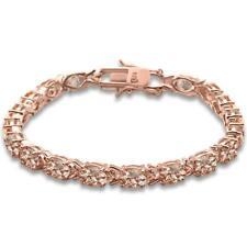 Rose Gold Plated Oval Morganite .925 Sterling Silver Bracelet