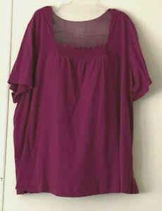 Catherines Red Lounge/Sleep Short Sleeve Shirt, Women's Plus Size 26W/28W, 3X