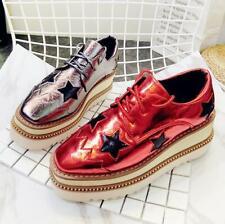 Brogue Womens Faux Leather Platform Wedge Shoes Lace Up Party Pumps College Shoe