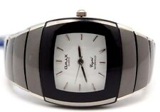 Omax Black n White with Silver Liner Slim Square Men Watch Water Proof