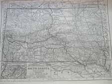 Antique Print 1926 Map Of South Dakota North America Atlas Globe Vintage Usa