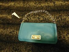 NWT BCBG Max Azria Sophia Turquoise Leather Clutch with Chain Strap