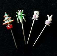 Four vintage very small stick pins, grasshopper, Christmas tree, owl,bunny.