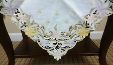 """Daisy Embroidery Spring Embroidered Floral Cutwork 36"""" Tablecloth Square"""