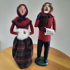"""Byers Choice Carolers Vintage 1985 """"Traditional Couple"""" Semi-Bumpy Signed Bases"""