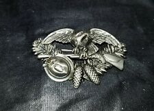 Vintage  German Silver Hat Pin - Hunting Hat Eagle Pine Cones