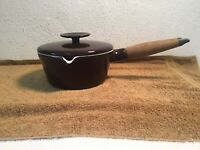 "Vintage Copco Michael Lax Design CastIron 6 1/2"" Brown Pot Enamel Coat Steel Lid"