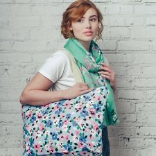 Maxi Large Oversize Canvas Pastel Vibrant Floral Print Shopper Tote Beach Bag