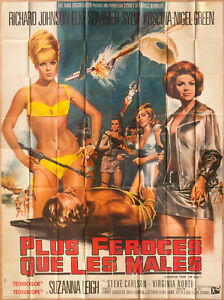 """'DEADLIER THAN THE MALE' FRENCH VINTAGE 1967 CINEMA POSTER  128"""" x 96"""""""