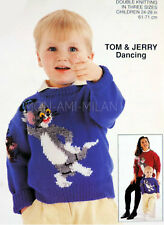 "KNITTING PATTERN How To Make a TOM & JERRY CARTOON MOTIF SWEATER Child 24-28"" DK"