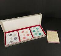 """Box Set of 3 Japanese Cloisonne Enamel Flower Dish Sushi Tray, 4.75"""" x 3.75"""""""