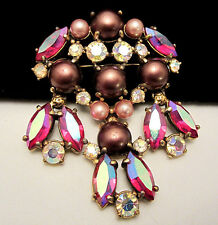 "Rare Vtg 2-1/2"" Signed Schiaparelli Goldtone Pink AB Glass Rhinestone Brooch A46"