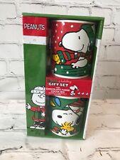 New listing Peanuts Snoopy 2 Mug Holiday Gift Set With Chocolate Fudge Cocoa Mix