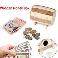 1pc Wooden Money Box Piggy Bank Money Box Savings Wine Barrel Wood Piggy Bank ZT
