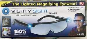 Mighty Sight Deluxe LED Magnifying Eyewear Glasses: As Seen on TV. NEW/FREE SHIP
