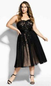 City Chic Sz S/16 Embellished Tulle Dress Black NWT