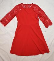 "RN studio Ronni Nicole 3/4 Sleeve Red lace Dress size 4P -  28"" w  x 33' L"