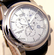 CITIZEN ECO DRIVE CHRONOGRAPH LEATHER SAPPHIRE 100m AT0555-00A