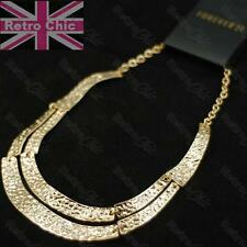 "STONE HAMMERED EFFECT boho 18K REAL GOLD PLATED COLLAR NECKLACE 16""chain link"
