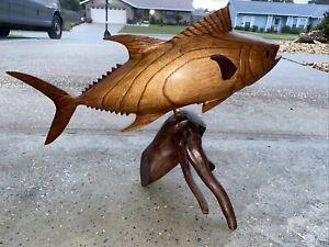 TUNA DRIFTWOOD BASE HAND CARVED WOOD ART HOME DECOR FISH