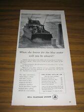 1956 Print Ad Bell Telephone Fishermen on Cabin Cruiser Leaving Dock