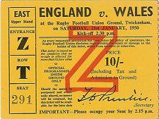 England v Wales 21 Jan 1950 Grand Slam Season for Wales Twickenham RUGBY TICKET