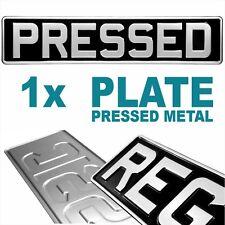 1x Black & Silver Pressed Number Plate Car Metal Classic Vintage GB UK Aluminium