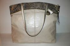 Coach Laura Embossed Pearl White Gold Parchment Tote F19696 Shoulder Bag