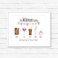 Personalised Family Drinks Print! Unique Personalised Gift! Fast Dispatch!