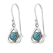 925 Sterling Silver Turquoise Gemstone Celtic Knot Drop/Dangle Earrings
